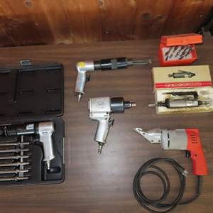 """Auction Thumbnail for: Lot 185 - Milwaukee 18Ga Nibbler, Air Hammer, 1/2"""" Impact and Die Grinder"""