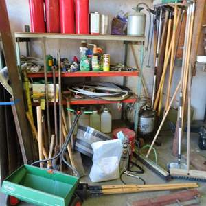 Auction Thumbnail for: Lot 192 - Outdoor Lot - with Shelf, Yard Tools, Spreaders, Jerry Cans and Much More