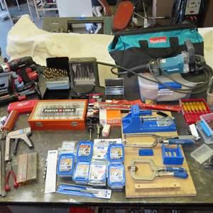 Auction Thumbnail for: Lot 195 - Woodworking Tools - with Kreg Pocket Jig, Dremels, Forstner Bits, Makita Sander & Much More