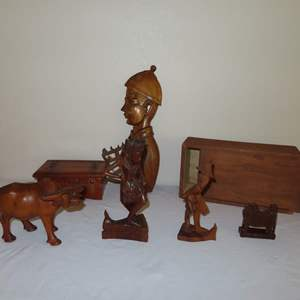 Auction Thumbnail for: Lot 12 - Wood Carvings and Box