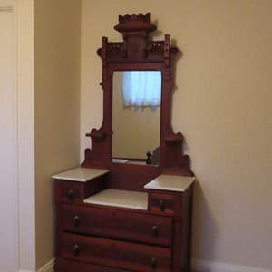Auction Thumbnail for: Lot 43 - Antique Victorian Vanity with Marble Tops