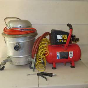 Auction Thumbnail for: Lot 52 - Mini Air Compressor and Small Commercial Shop Vac