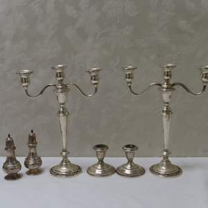 Auction Thumbnail for: Lot 25 - Weighted Sterling Silver Candle Holders, Plus Salt & Pepper Shakers
