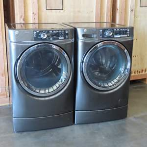 Auction Thumbnail for: Lot 74 - Matching GE Front Load Washer and Dryer