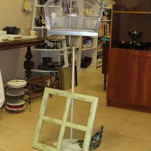 Auction Thumbnail for: Lot 60 - Antique Birdcage with Metal Bird Statue, and Window