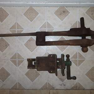 Auction Thumbnail for: Lot 232 - Pair of Antique Vises - Wood and Leg
