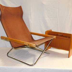 Auction Thumbnail for: Lot 69 - Folding Lounge Chair and Mid Century Magazine Holder