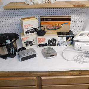 Auction Thumbnail for: Lot 65 - Kitchen Gadgets, Pressure Cooker, Steam Iron and More