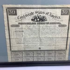 Auction Thumbnail for: Lot 10 - Civil War era Confederate Bond - $50.00