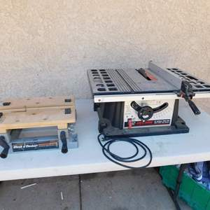 """Auction Thumbnail for: Lot 9 - Benchtop 10"""" Table Saw and Workmate"""