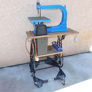 Auction Thumbnail for: Lot 60 – Scroll Saw - Mounted on Antique Treadle Sewing Machine Stand