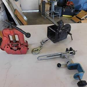 Auction Thumbnail for: Lot 103 - Pipe Vise, Worm Drive Winch, and Hobby Vise