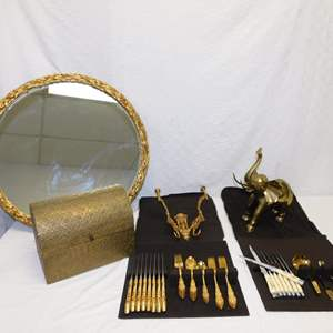 Auction Thumbnail for: Lot 67 - Gold Plated Silverware Set by Rogers & Bros, Brass Elephant, Bone Handled Knives and Mirror