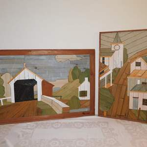 Auction Thumbnail for: Lot 28 - Pair of Signed Lath Folk Art Pictures - by Theodore DeGroot