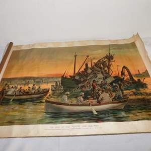 Auction Thumbnail for: Lot 54 - 1898 Lithograph by HS Crocker Co. - The Last of the Maine and Her Men