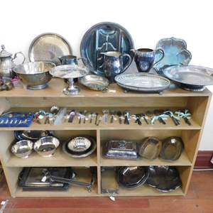 Auction Thumbnail for: Lot 51 - Large Lot of Plated Silver