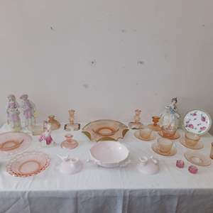 Auction Thumbnail for: Lot 56 - Vintage Dishes and Decor - Pink Theme, with Pink Dove Candle Holders