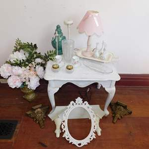 Auction Thumbnail for: Lot 58 - Table, Lamp, Wall Shelves, Hat Stand and More