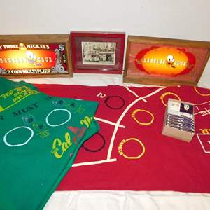 Auction Thumbnail for: Lot 65 - Vintage Casino Lot - with Lighted Signs, Table Felts & More