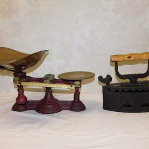 Auction Thumbnail for: Lot 92 - Antique Scale and Sad Iron with Coal Pocket
