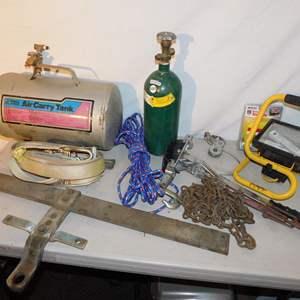 Auction Thumbnail for: Lot 19 - Tow Straps, Air Tank, Mini Oxygen Bottle & More