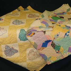 Auction Thumbnail for: Lot 29 - Pair of Vintage Antique Handmade Patchwork Quilts