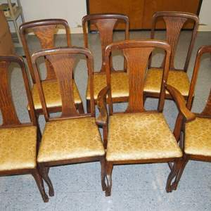 Auction Thumbnail for: Lot 42 - 7 Antique Oak Dining Chairs