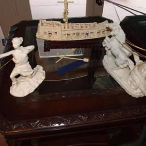 Auction Thumbnail for: Lot 122 - Pair of Alabaster Figurines Plus Plastic Replica