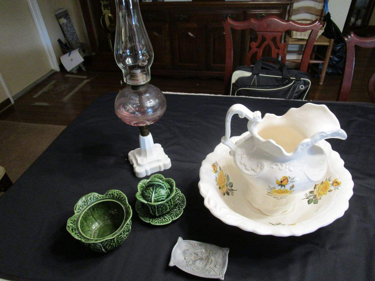 Lot # 49 - Milk Glass & Cranberry Glass Oil Lamp and Decor (main image)