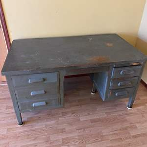 Auction Thumbnail for: Lot # 298 - OLD WOODEN MILITARY DESK
