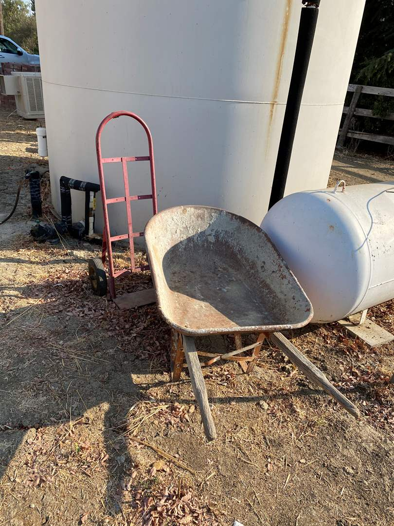Lot # 74 - WHEEL BARREL AND HAND TRUCK (main image)