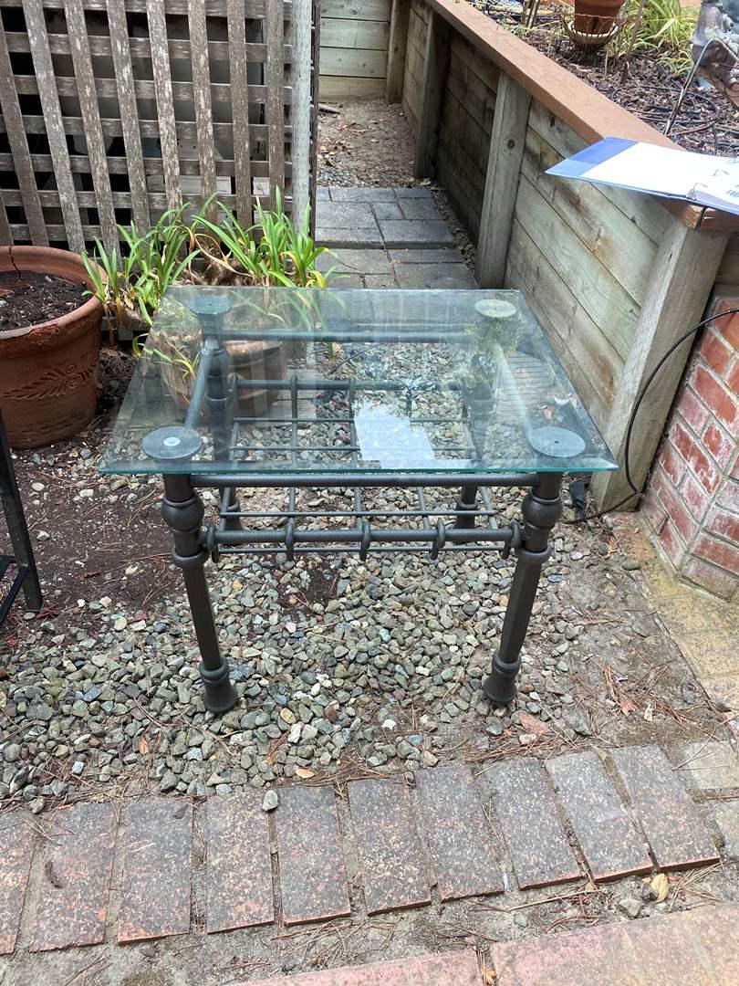 Lot # 41 - METAL & GLASS END TABLE (main image)