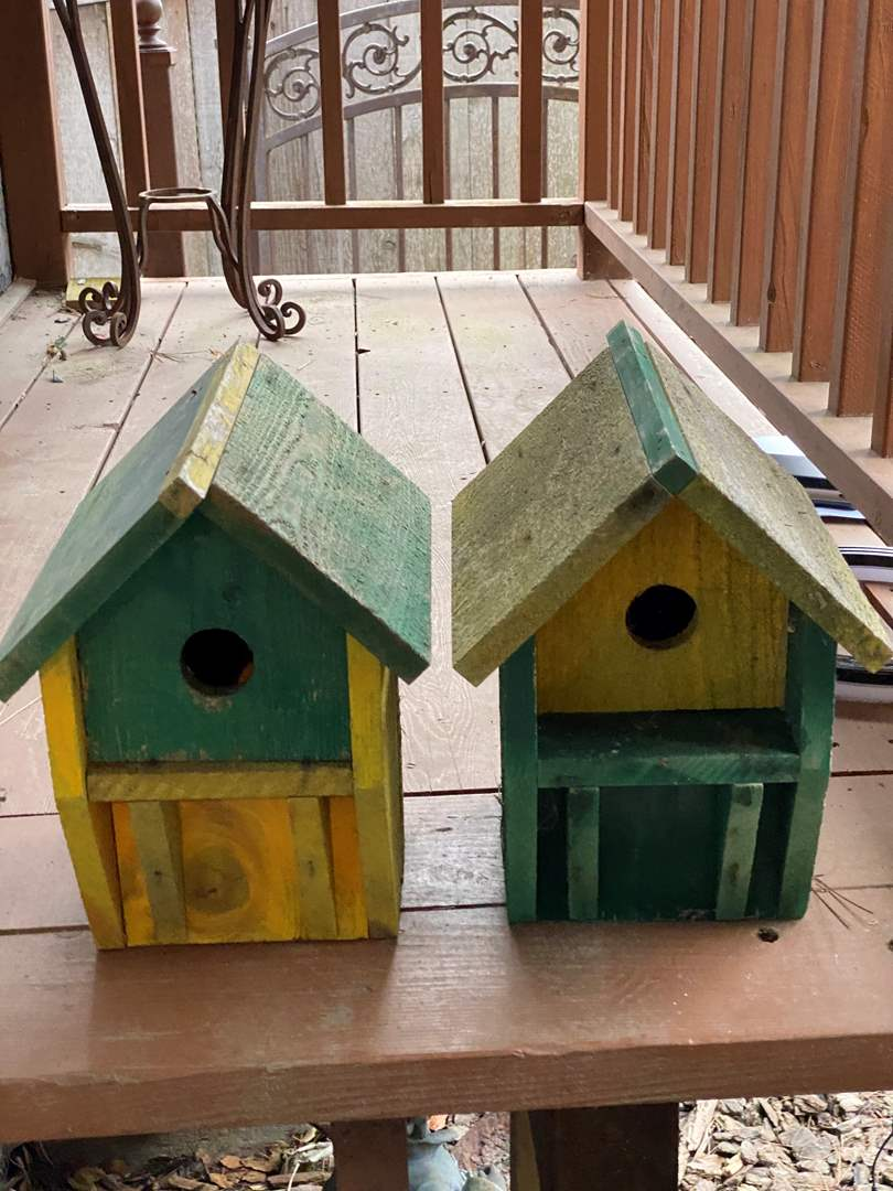 "Lot # 84 - TWO BIRD HOUSES 8"" TALL (main image)"