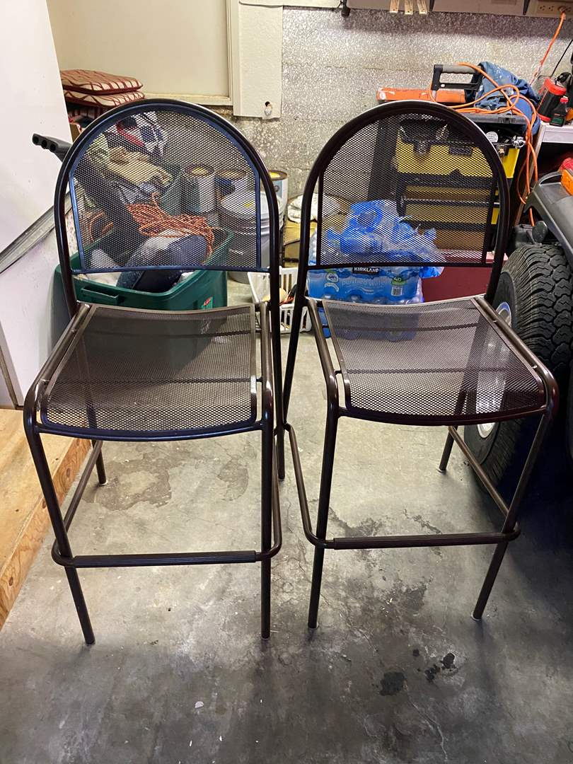 Lot # 89 - TWO MATCHING METAL BAR STOOLS (main image)