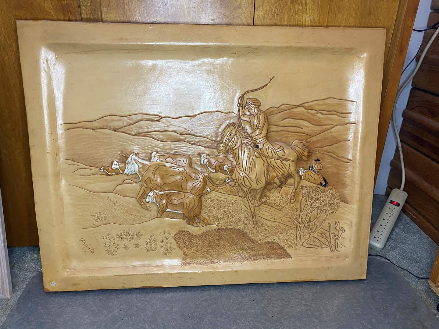 Lot # 8 - TOOLED LEATHER ARTWORK (main image)