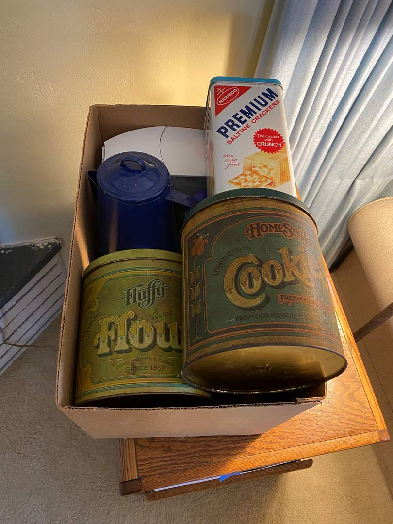 Lot # 63 - BOX OF VINTAGE TINS & OTHER ITEMS (main image)