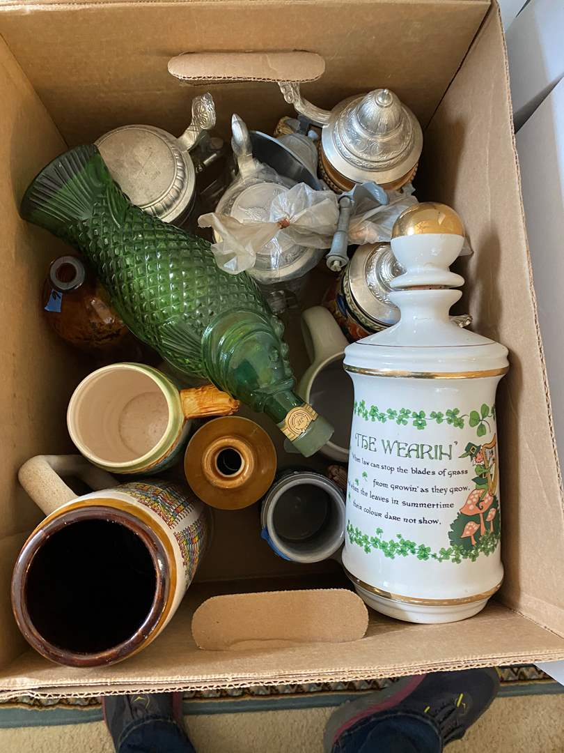 Lot # 64 - BOX OF VINTAGE STEINS & OTHER BOTTLES (main image)
