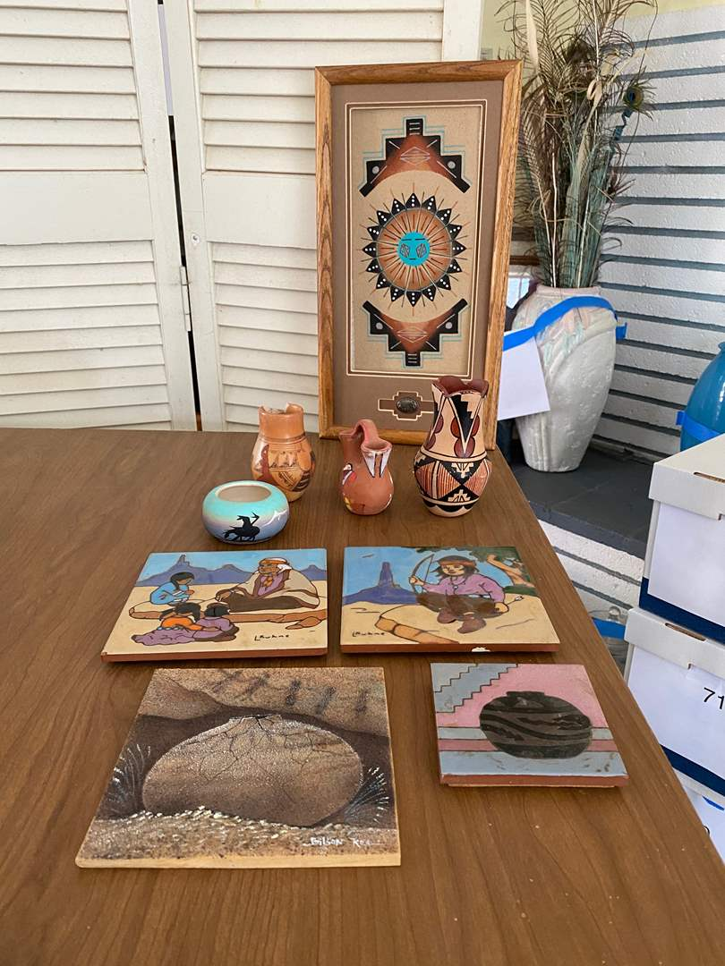 Lot # 117  - SAND PAINTING - TRIVITS AND POTS (main image)
