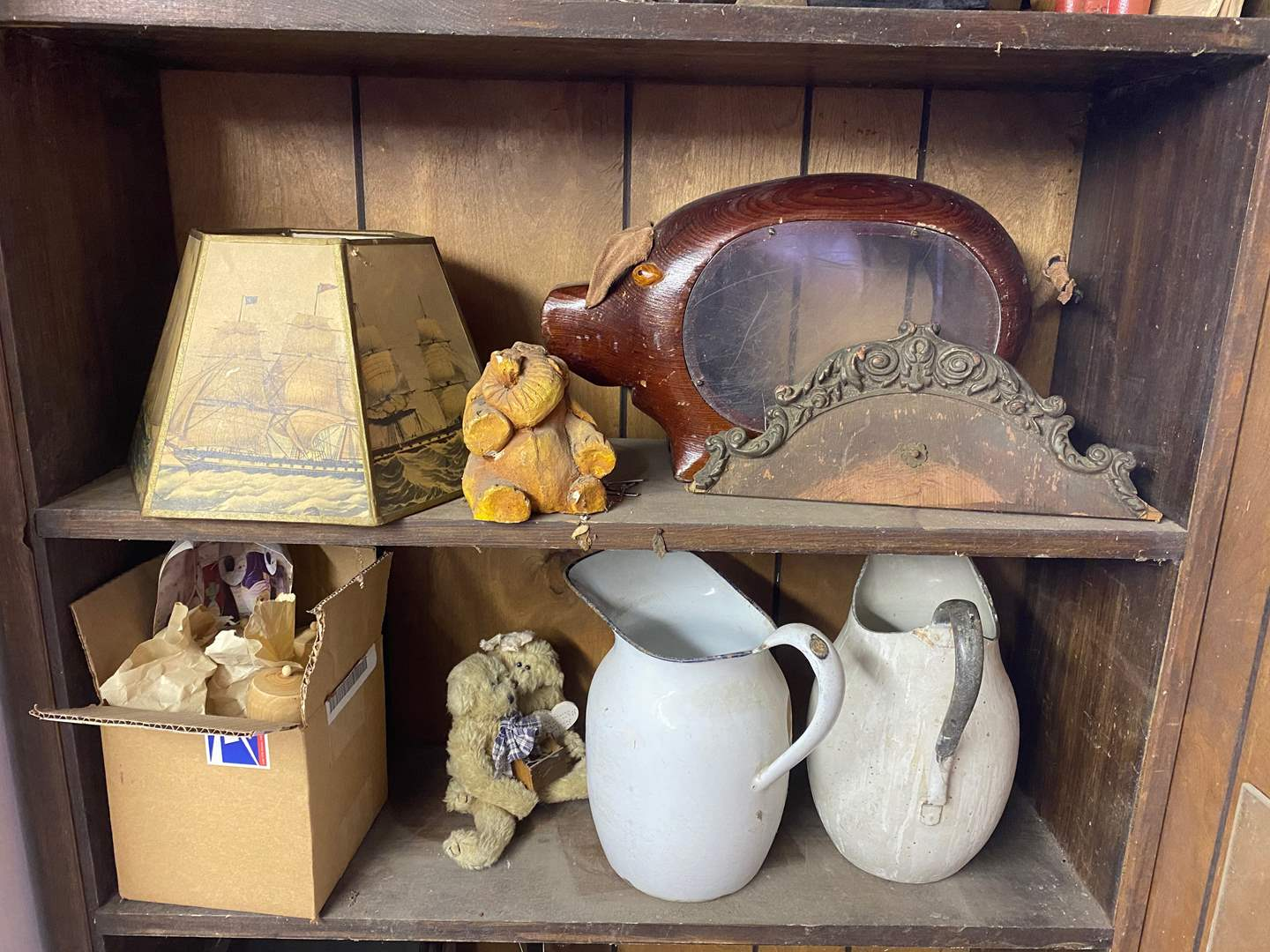 Lot # 230 - TWO SHELVES OF VINTAGE GOODS (main image)