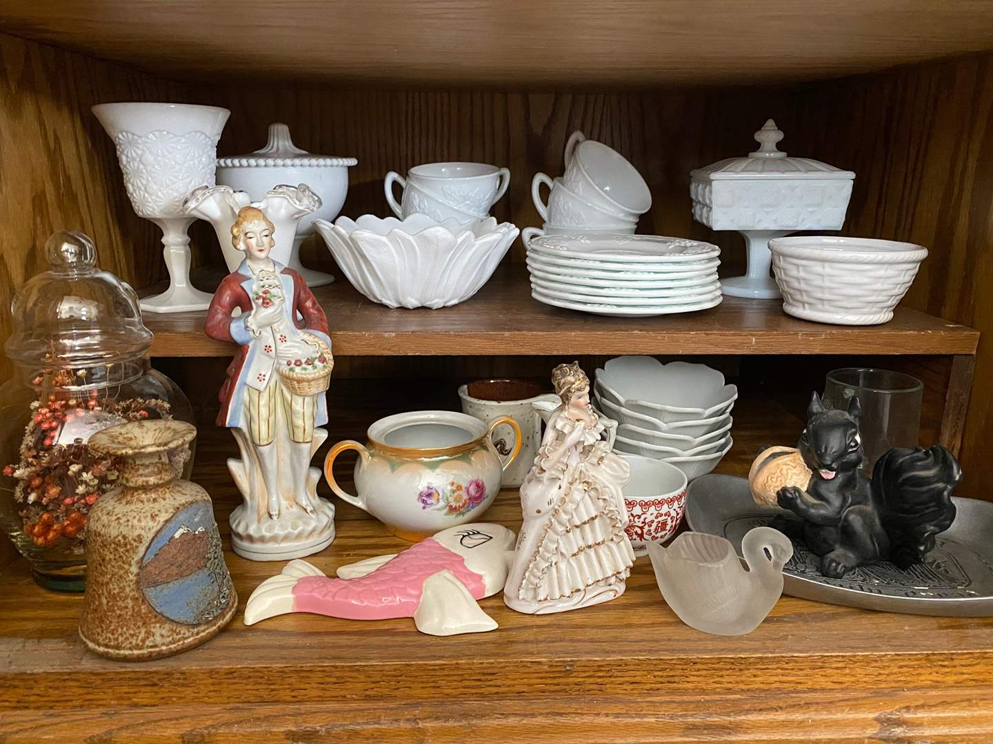 Lot # 268 - TWO SHELFS OF VINTAGE GOODS & MILK GLASS (main image)