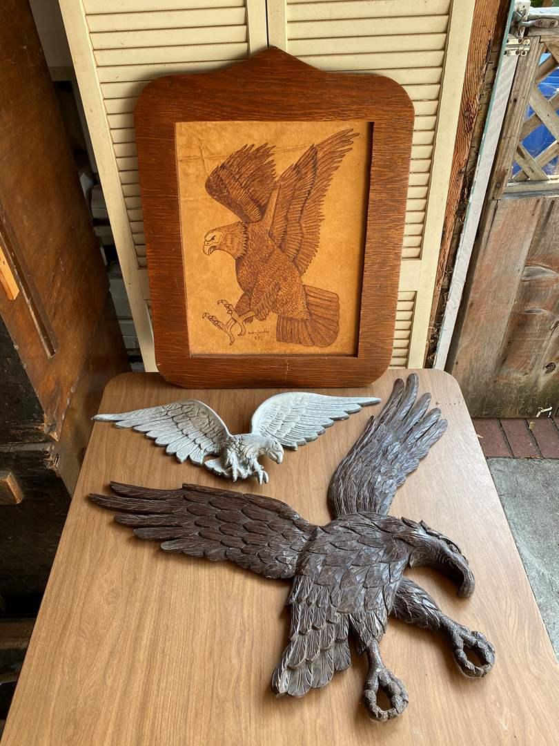 Lot # 318 - VINTAGE EAGLE ART - WOOD - METAL & TOOLED LEATHER (main image)
