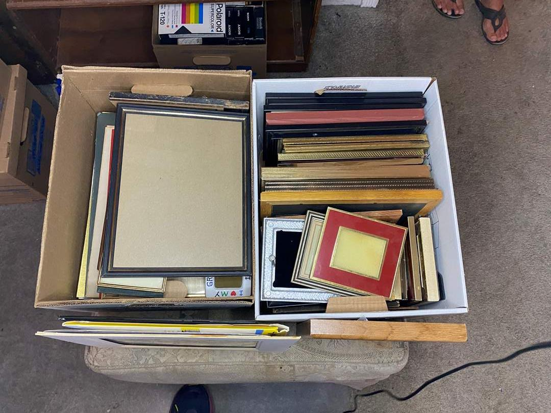 Lot # 25 - TWO BOXES OF FRAMES - SOME WITH ART (main image)