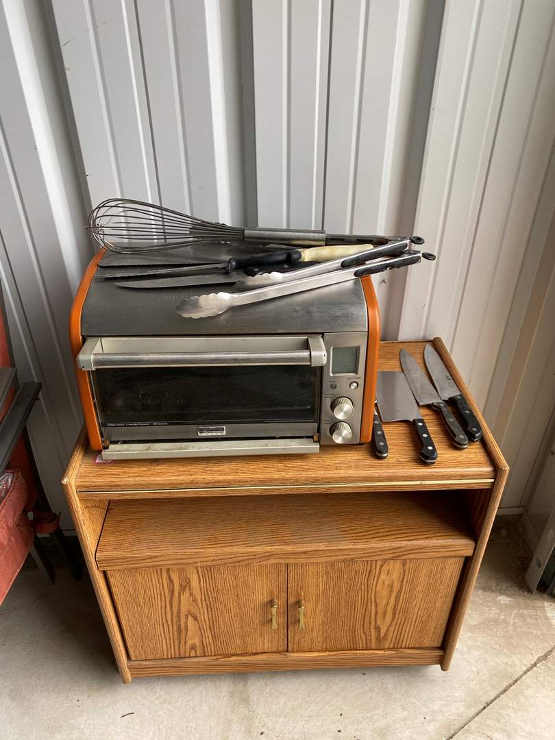 Lot# 7- Rolling Kitchen Cart, Toaster Oven, Kitchen Knives/Utensils (main image)