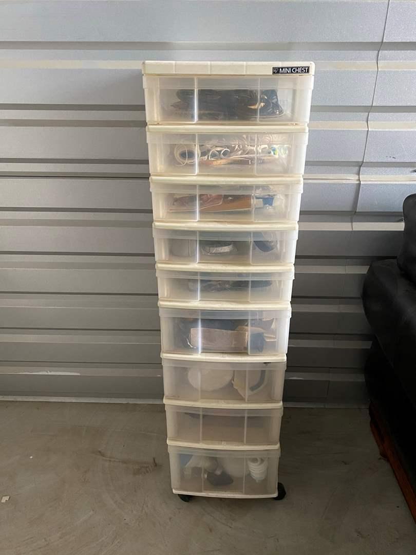 Lot# 10- Mini Chest Rolling Storage Full of Garage Goods (main image)