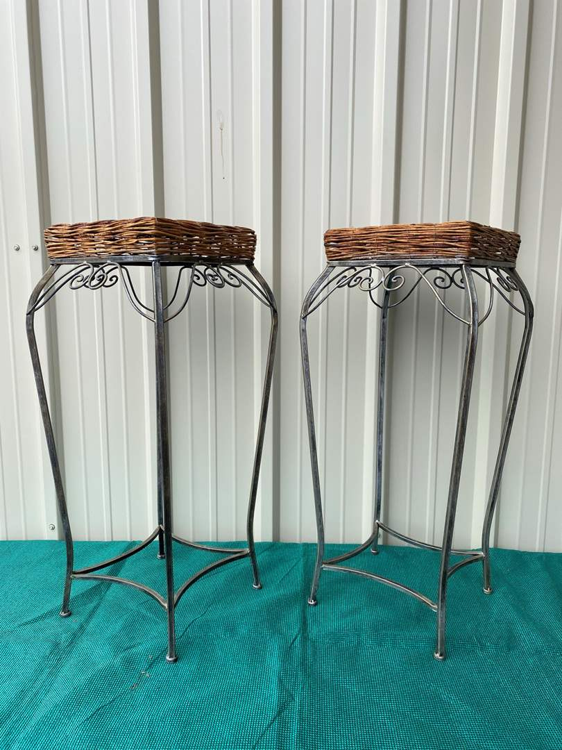 Lot# 21- Pair of Wrought Iron Barstools w/Woven Wicker Chair Seats (main image)