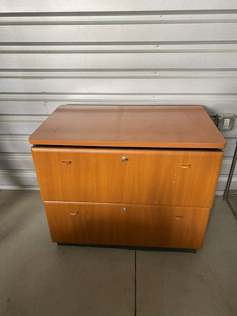 Lot# 27- Wood Filing Cabinet w/key  (main image)
