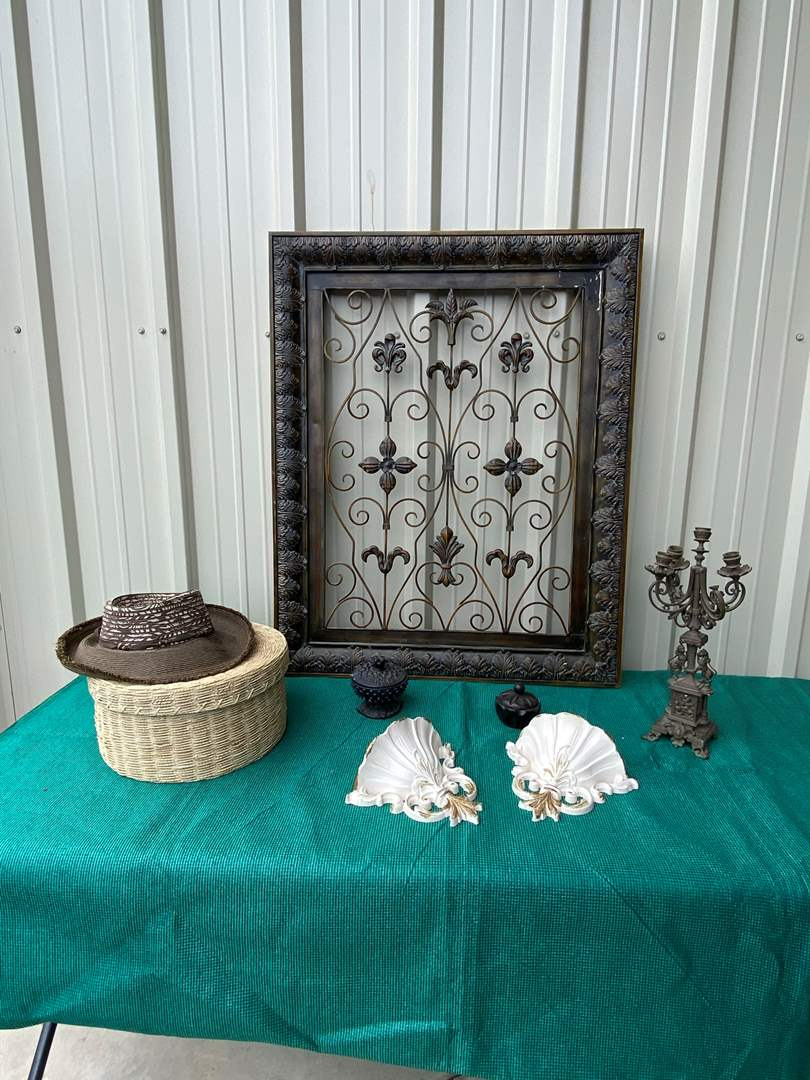 Lot# 39- Metal Picture Frame/ Hanging White Wall Scones (main image)