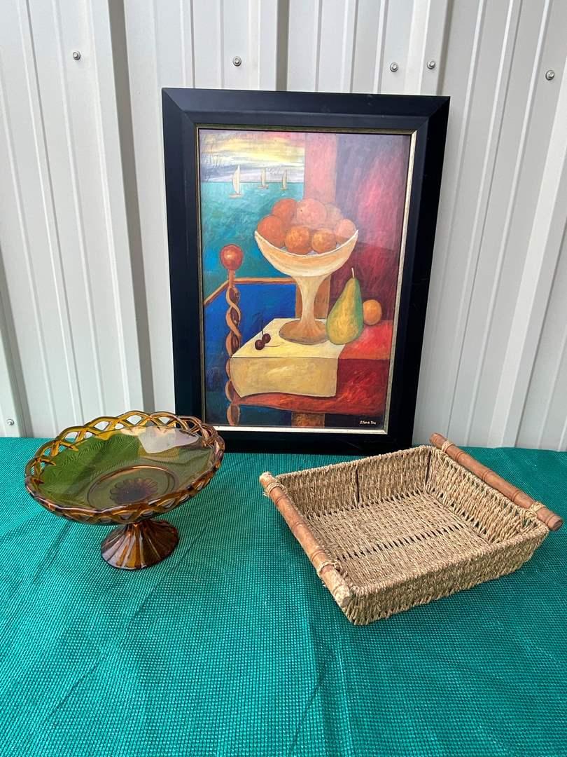 Lot# 44- Vintage Viking Pedestal Dish/Framed Fruit Bowl Picture/Weave Basket (main image)
