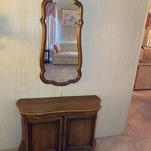 Auction Thumbnail for: Lot # 8 - HALL CABINET WITH MIRROR AND CONTENTS