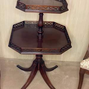Lot # 13 - ANTIQUE TWO TIERED TABLE